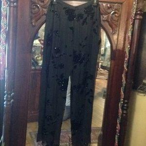 Xscape palazzo cut velvet silk pants size 6 nice